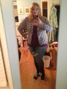 Rocking a doggy dalmation print.