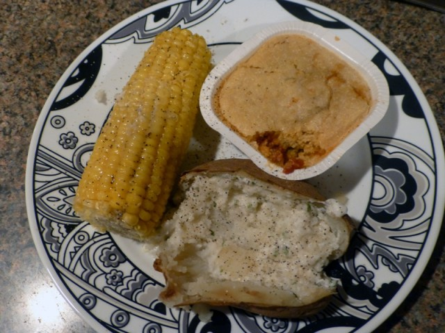 Diet-to-go Carbtastic Meal of Tamale Pie, Corn and Baked Potato