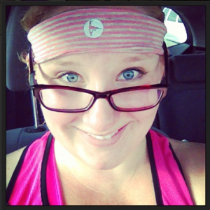 Pink and gray sweatband after bootcamp