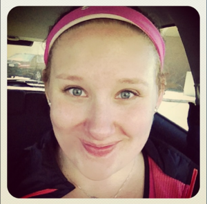 Pink sweaty band shows off my post zumba glow!