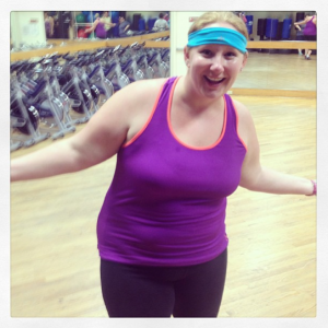 Blue sweat band and dorky smile after body blast!