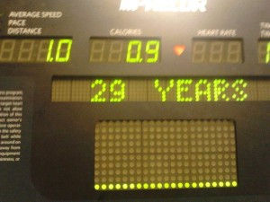 April's last time entering 29 year old on the treadmill.